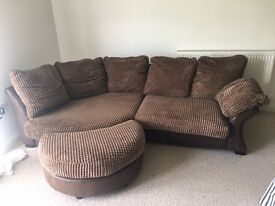 brown 3 seater sofa with pouffe and square storage pouffe. 260 cm wide and 85 high