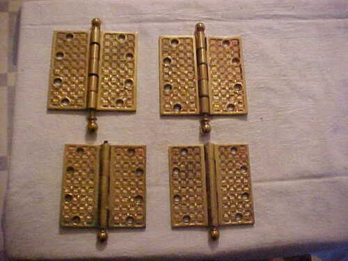 "4 Antique Eastlake Era Cast Brass 4"" & 4-1/2"" Door Hinges Yale Towne 1887 AS IS"