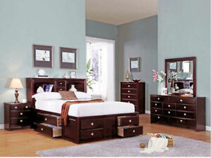 4PC King Size Solid wood Storage Bed Set $998