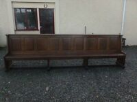 12ft long solid oak pew