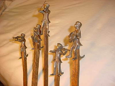 $ALE MONKEYS WITH TAILS 5 PC COMBO ON RUSTIC RIVED STIXS BY CANE ARTIST JIM HALL