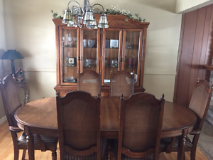 9 Piece Dining Room Set with hutch/Glass Cabinet/Sofa/bed Couch/