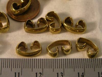 21 Vtg 13x8mm Jewelry Brass C  Fold Over Bracelet Connector Findings Repair LOT