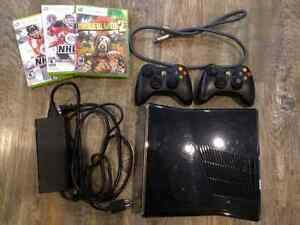 XBOX 360 Console, 2 Controllers and 3 Games