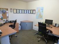 Small Office Furniture Set Up Beech 2x Desks Corner Filing Cabinet Drawers & Eames Style Chairs