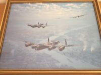 RAF Airplane Collectable WW11 Military Print – Lancasters by Ron Lackenby