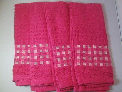 KITCHEN TOWELS SET OF 4 - 100% COTTON - PINK COLOR - SIZE 14