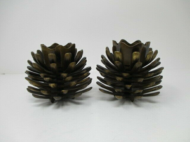 Cast Iron Metal Pine Cone Set Candle Holder Home Table Decor