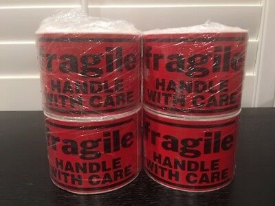 1000 Large 3x5 Fragile Handle With Care Stickers 4-rolls 250 Labels