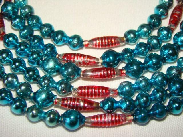 "Old 72"" Red & Peacock Blue CHRISTMAS Feather Tree Mercury Glass Bead GARLAND #34"