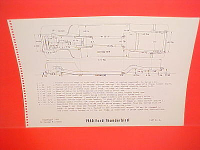 1960 FORD THUNDERBIRD T-BIRD CONVERTIBLE HARDTOP COUPE FRAME DIMENSION CHART
