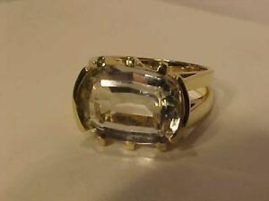 #3396 14K YELLOW GOLD WHITE BERYL SOLITAIRE *SIZE 6 1/2* JUST BACK FROM APPRAISAL AT $1850.00 SELLING FOR $650.00!