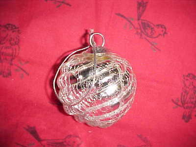 Christmas Ornament Silver Crackled Glass Orb Ball Modern Heavy shape of bulb lg