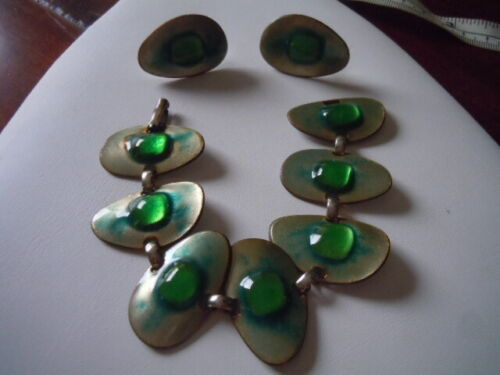 Vntg Kaye Denning mid century enameled fused glass on copper bracelet/earrings