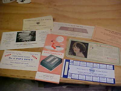 Vintage group of 9 advertising ink blotters Pagano pizza First National Bank etc