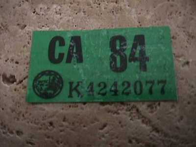 Never Used    Ca License Plate 1984  Sticker  Original Dmv Issued