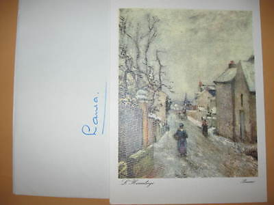 Vintage BIRTHDAY CARD Pissarro printed In Italy L'HERMITAGE late 60's