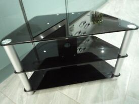 Black Gloss Glass TV Stand Suitable For LCD LED TVs - 80cm width