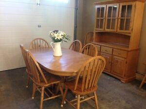 Oak Furniture Dining table and 6 chairs,hutch and Roll top desk