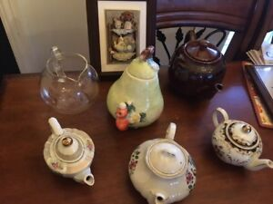 Collection of Six teapots and cute teapot wall hanging. See pics