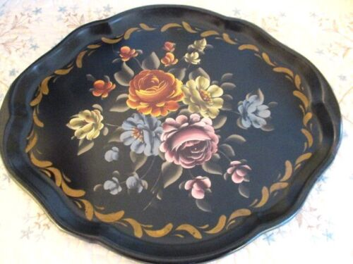 Antique Hand Painted Oval Muted Hand Painted Floral Black Metal Tole Tray