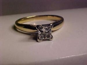 #3148-14K W/Y/Gold PRINCESS CUT(.60ct)ENGAGEMENT RING-APPRAISED -$4,200.00 --SELLING*$1,050.00-SHIP CANADA*EBANK TRANS