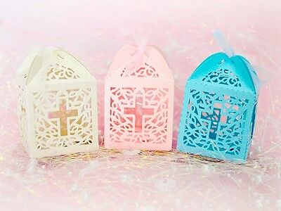 Cut Out Cross - Luxury laser cut-out Cross design christening sweets favor boxes