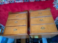 Vintage pair of Stag bedside cabinets / small chests of drawers