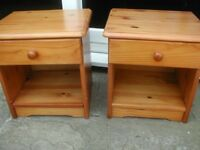 2 small pine bedside tables