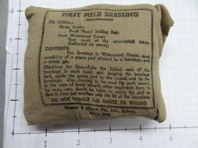 WW2 FIRST FIELD DRESSING - 1942 DATED - AUSTRALIAN MADE            #eq117