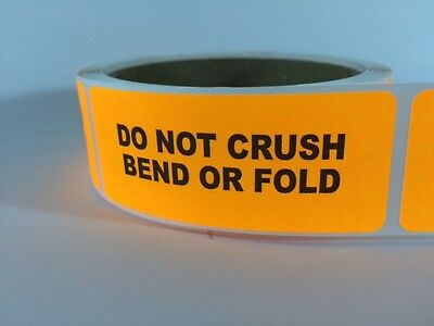 250 1x3 Do Not Crush Bend Labels Stickers Neon Orange Fluorescent Fragile New