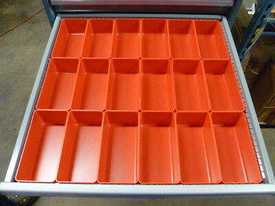 24 4x8x3 Red Plastic Boxes Fit Lista Vidmar Toolbox Organizers Bins Dividers