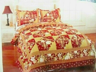 Sunham Home Fashions - Sunham Home Fashions Floral Manor 3-PC King Patchwork Quilt and Std. Shams
