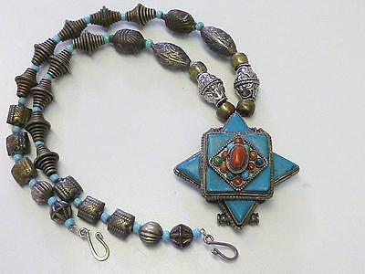 Estate CHINESE Asian Turquoise Coral Silverplate AMULET Tribal Bead Necklace