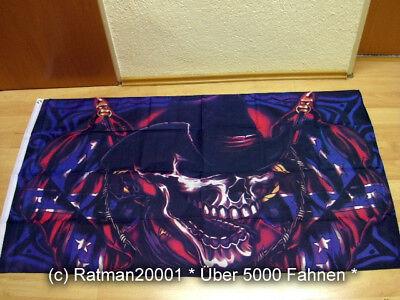 Fahnen Flagge Totenkopf Hut Skull Cowboy - 90 x 150 cm - Flagge Hut