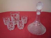 Glass Decanter / Ice Bucket & Glasses