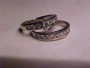 #1037-14K WHITE GOLD WEDDING SET-SIZE 6 3/4-APPRAISED $3550.00-SELL $875.00-DON`T SNOOZE & LOSE THIS ONE-LAYAWAY AVAILAB