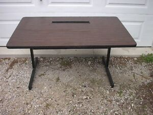 MCM walnut and metal office desk from 1970's