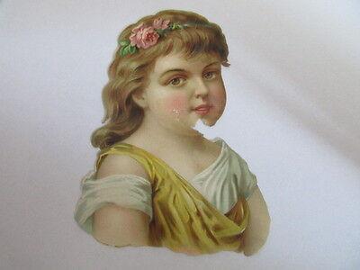 eine wunderschöne alte Oblate Glanzbild Mädchen um 1900 ca. 10 cm
