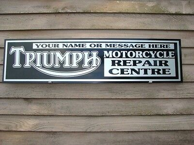 1950S 60S Triumph Motorcycle Dealer Service Sign Ad Personalized Garage Art