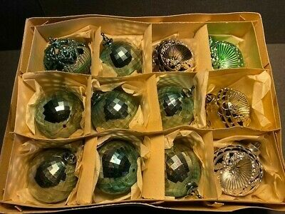 VINTAGE BRADFORD PLASTIC FILIGREE INDENT DISCO BALL CHRISTMAS TREE ORNAMENTS, 3