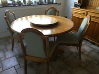 """130cm hardwood round table + """"lazy susie"""" + 6 padded chairs + side board"""