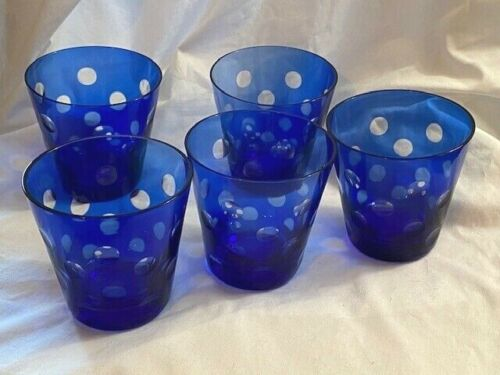 "Five Cobalt Glass Cut To Clear Dots 4"" Tumblers DOF"