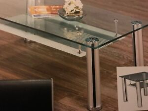 NEW GLASS COFFEE TABLE AND ONE GLASS SIDE TABLE