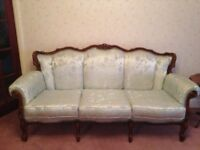 Italian Baroque Rococo French Style Three & Two Seater & Armchair for Restoration
