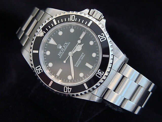 Rolex Mens Submariner Stainless Steel Watch No Date Sub Black Dial Bezel 14060