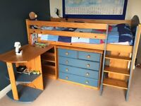 Boys Cabin Bed Mid-station with Desk, Chest of Drawers and Bookcase