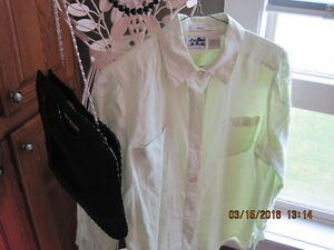 EDWARD 100% Irish Linen Light Green Embroidered Ladies Shirt
