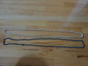 BRAND NEW LOT OF 2 BEADED LONG NECKLACES FOR SALE SILVER BLUE