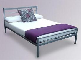 **14-DAY MONEY BACK GUARANTEE!** - Double Metal Bed with 9inch Sprung-Based Mattress - BRAND NEW!